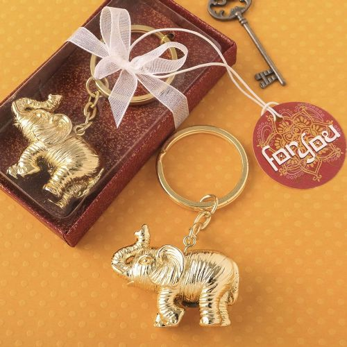 A Lucky Gold Elephant Keyring Wedding Pary Favour Gift